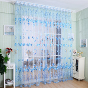 Academyus Drape Panel Room Sheer Home Door Window Decoration Tulip Flower Voile Curtain (Blue 100cm x 200cm
