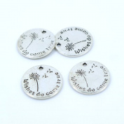 20pcs Antique Silver Colour Alloy Wishes do come true Dandelion Charms Pendant Jewellery Finding