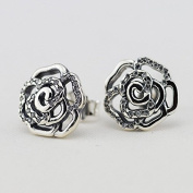 DIY fits European Pandora Jewellery 925 Sterling Silver Rose Silver Stud Earrings with Cubic Zirconia