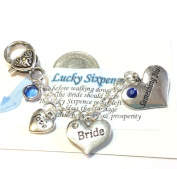 "Brides Wedding Garter,Charm, bouquet charm, CELTIC ""Something Blue"" with REAL Vintage Sixpence Coin"