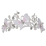 Stuffwholesale Silver Butterfly Women Girl Crown Tiaras Prom Pageant Rhinestone Headwear with Bobby Pins