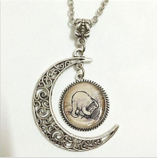 His Honey Pot Pendant,Silver or bronze Necklace,Silver or bronze Moon Jewellery,moon Necklace Glass Art Picture