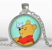 pendant,Necklace, Silver plated pendant, fairytale Jewellery, Christopher Robin, orange, red, blue