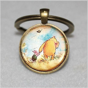 Piglet Keychain,vintage bronze glass Keychain,Unique Key Ring Customised Gift,Everyday Gift Key Chain