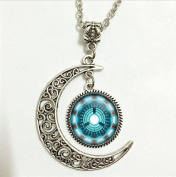 Arc Reactor Pendant,From Avengers Arc Reactor Necklace,From Avengers Arc Reactor Moon Jewellery,moon Necklace Glass Art Picture