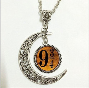 Platform 9 3/4 Pendant,Platform 9 3/4 Necklace,Platform 9 3/4 Moon Jewellery,moon Necklace Glass Art Pictur
