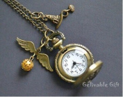 Unique Pocket Watch Necklace, Antique Brass Sorting Hat and Golden Snitch Pendant Locket Watch Necklace