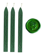 MDLG New 3pcs Grass Green Wax Sticks with Wicks for Decorative wedding invitations wax seal Sealing stamp