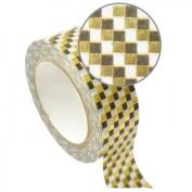 Blue Masking Tape 1.5 cm x 10 m - golden checkerboard