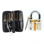 Ehdching 24pcs Leather Packing Scissors + 1pcs Professional Transparent Cutaway Padlock