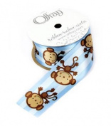 Monkeys Blue Stripe 3.8cm Satin Ribbon - Pkg. of 2.7m