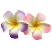 2 PCS 7cm Hawaiian Frangipani Plumeria Foam Head Flower Party Beach Hair Clip