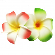 2 PCS 7cm Hawaiian Frangipani Plumeria Foam Head Flower Party Beach Hair Clip
