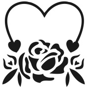 Gourmet Rubber Stamps Stencil 15cm x 15cm -Rose And Heart
