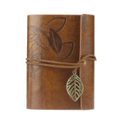 LandFox Vintage Leaf Leather Cover Loose Leaf Blank Notebook Journal Diary