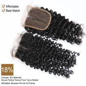 Youth Beauty® 10cm x 10cm Bleached Knots Closure, Kinky Curly 36cm Human Hair Lace Closure