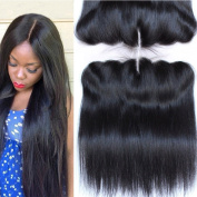 Youth Beauty® Brazilian Straight Hair Full Lace Frontal Closure 33cm x 10cm With Baby Hair Bleached Knots Natural Colour Top Lace Front Closures 41cm