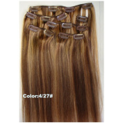 Two Colours Ombre hair extension #4/27, 7pcs/set clip on Full Head Ombre Indian remy clip in hair extensions