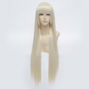 "32"" 80cm Long Straight Hair Women Cosplay Wig Heat Resistant Party Costume Hair Flat Bangs"