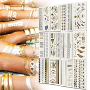 BeneU Metallic Temporary Tattoos Gold and Silver Shiny Jewellery Tattoos 12 Sheets Pack Shimmer Designs in Gold, Silver, Black & Turquoise