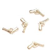 Rain Queen Girl's Alloy 3D Gun Nail Art Glitter Decal Stickers for DIY Decor Gold Pack of 5pcs