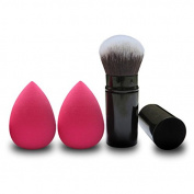 AUSKY® Perfect Foundation tool set! 2PCS Flawless Pro TearDrop Beauty blender Sponge Puff and 1pc Synthetic Retractable Kabuki Brush,Highlighting and Contour!