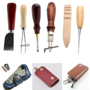 Kangnice 6Pcs Leather Craft Tools Kit Thread Awl Trimming Punch Hole LeatherCraft Tools