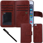 iPhone SE Case, Urvoix(TM) Wallet Leather Flip Card Holder Case, 2 in 1 Detachable Magnetic Back Cover for Apple iPhone SE 5 5S