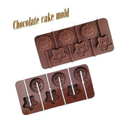 1PCS Food Grade Silicone Material, Smile & Stars Shape For Chocolate Lollipop Mould, Cake Tools, Cookie , Jelly, Ice Mould