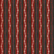 Wilmington Prints Christmas in Bloom Red and Black Stripe