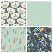 4 FABRIC BUNDLE - Various Sizes - Hello Bear, Morning Walk, Winged - Leah Duncan, Bonnie Christine Art Gallery Fabrics - Flowers Navy Blue Mint Green