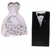 Kloud City ® 50 Pcs Birdegroom Tuxedos and Bridle Wedding Gown Dress Wedding Candy Box , Gift Box with White Ribbons