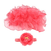 Newborn Tutu Skirt Headband Baby Girls Knitted Crochet Photo Prop Outfits Pink