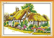"Joy Sunday Cross Stitch kits, Country cabins (3),14CT Counted, 34cm×25cm or 13.26""×9.75"""