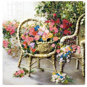 Egoshop Silk Ribbon Embroidery Kit Summer Romantic Rose DIY Wall Decor Silk Ribbon Embroidery Kit With English Instruction