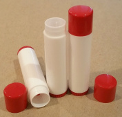 50 NEW Empty Maroon Red Top and bottom White Tube LIP Balm Chapstick Tubes Containers .15 oz / 5 ml Tube Make Your Own Chapstick Lip Balm DIY At Home with Caps