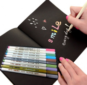 JOYRICE 1 Black Graffiti Book Sketchbook 25cm x 18cm + 10 Colour Metallic Marker Pens For DIY Photo Album,Graffiti ,Artist Drawing Or Any Surface-paper,glass,plastic,pottery DIY ,Wedding Craft