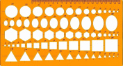 Template Ruler 28cm X 15cm , 5 Patterns Assorted