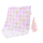 JISEN® Baby Newborn 100% Cotton Gauze Muslin Baby Bath Towels,Super Breathable Cool Summer Baby Blanket,with Baby Washcloths,Baby Towel Wipes,Pink Square Style Set With Ribbon Packing,Baby Gifts