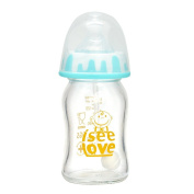 I See Love Anti-broken BPA-free Premium Lovely Glass Feeding Baby Bottle with Straw & Cap for Boy Kids,150mls