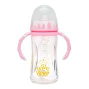 I See Love Anti-broken BPA-free Premium Pink & White Glass Feeding Baby Bottle with Holder & Sleeve,240ml