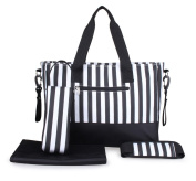 LCY Stripe Design Nappy Bag Set, with Changing Mat, Crossbody bag strap, Stroller hooks and Bottle Bag, Black and White Stripes