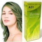 New BerinaPermanent Hair Dye Colour Cream # A31 Blonde Grey Green Made in Thailand