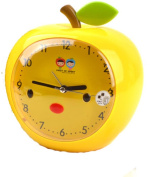Cartoon Apple Yellow Mute Table Desk Classical Style Alarm Clocks For Kids Students