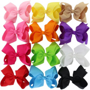Pinwheel 12pcs Larger Boutique Baby Girls Simple Hair Bows For Teens