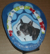Fabric Photo Frame - Flip flop with Dog/Cat Paw Print Design - Holds a 5.1cm x 7.6cm picture