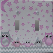 Grey and Pink Owl Double Toogle Light Switch Plate Covers