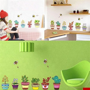 6 Colourful Potted Flowers Plants Bee Wall Stickers Rural Garden Removable Art Decal Decoration Kids Room DIY