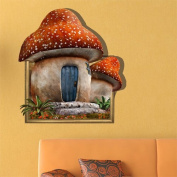 3D Baby Kids Room Cartoon Mushroom House Tale Story Wall Decals Removable Paper Stickers Art DIY Decoration