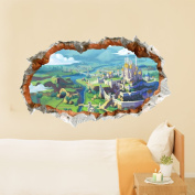 3D Baby Child Kid Room Cartoon Castle Scenery Tale Wall Decal Removable Paper Stickers Art DIY Gift Decoration